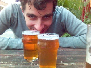 The sinister Mr. Malting guarding the half pints.
