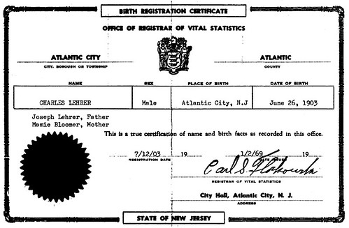 Dad's Birth Certificate