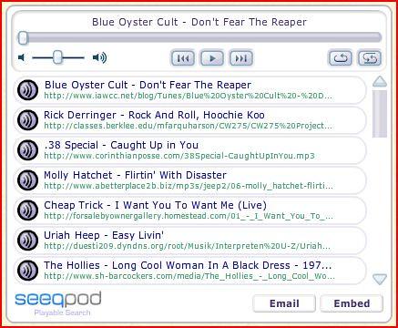 Seeqpod music embedded playlist