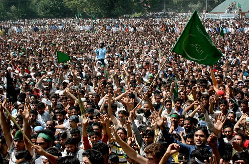 Kashmiris participating in a mass rally to protest recent events in the state.