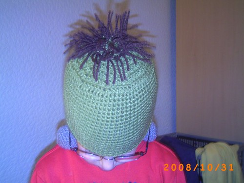 The top of the Franken-hat, showing the hair.