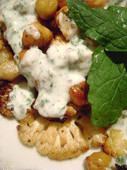 Roasted Cauliflower and Chickpeas with mint & yogurt dressing.