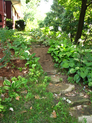 A mysterious mound of dirt on the steps