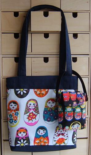 Matryoshka dolls tote bag and ipod bag