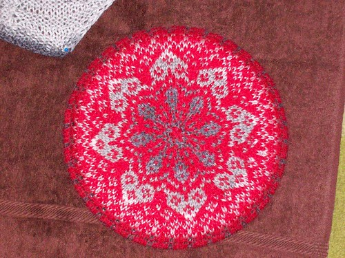 Someones stunning version of Gramma Ks Fair Isle Tam.  Cant imagine WHOs version that might be, but its perfect for Valentines Day.  ;)