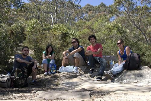 El grupo justo después de comer