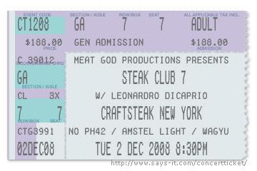 craftsteak new york steak club 7 ticket