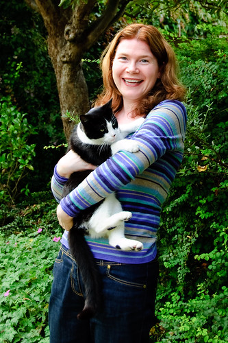 Sarah with Mum and Dad's cat visitor