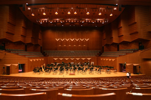 This view of the stage gives you an idea of how much fine wood was used in finishing the concert hall