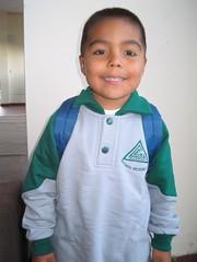 Nacho en su primer dia de clases