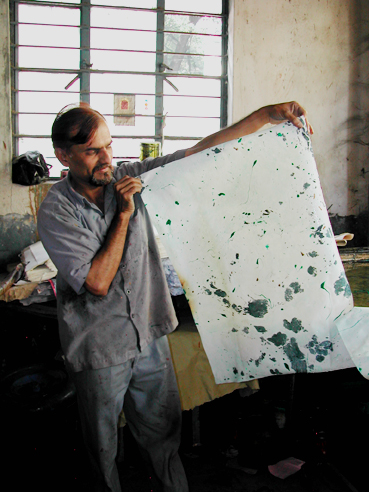 Marbling Artist at the Handmade Paper Institute, Pune
