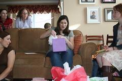 Jenny opens a present.