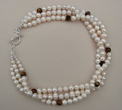 Three Strand Pearl Necklace with Tiger's Eye