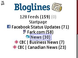 Bloglines Mobile Beta - Default View