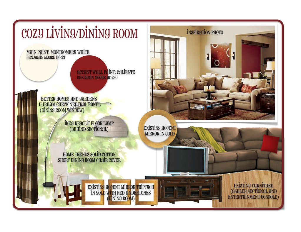 Mock-up for client; living/dining room paint and accessory consultation