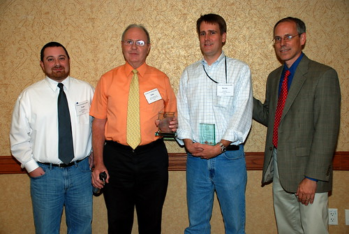 TRLA attorney Kevin Dietz accepts his Impact Award from the Poverty Law Section. From left to right: Todd Stephens and John Kennedy of Legal Aid of Northwest Texas, Kevin Dietz and Robert Doggett of Texas RioGrande Legal Aid