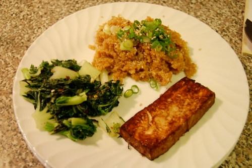 asian baked tofu teriyaki quinoa baby bok choy