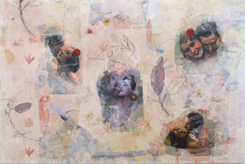 romance in the flowers mixed media on canvas (c) 2006, Lynne Medsker