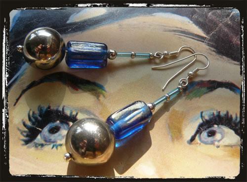 Orecchini fatti a mano  blu  - Blue Handmade Earrings MEHCBLA
