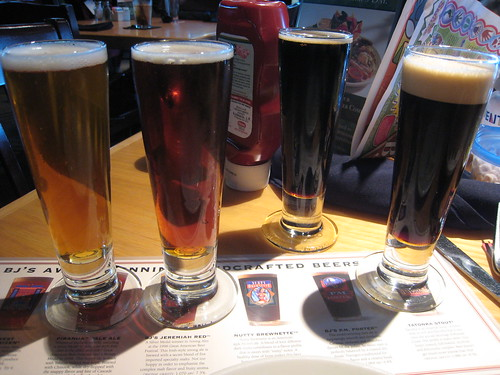 Beer samples at BJ's Restaurant & Brewhouse, Cupertino, CA