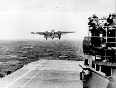 Take off from the deck of the USS HORNET