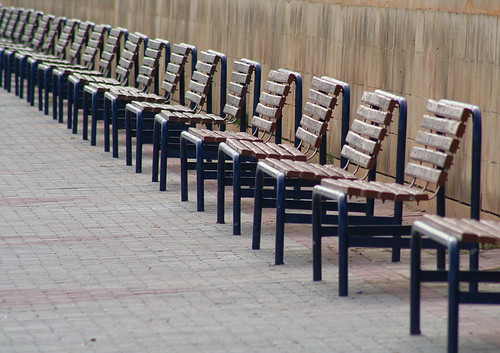 Waiting for summer; Empty benches, the promenade - Birzebugga, Malta by foxypar4.