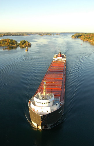 The Laker Canadian Leader before going under the 1000 Island Bridge on the St. Lawrence River near Clayton, New York.