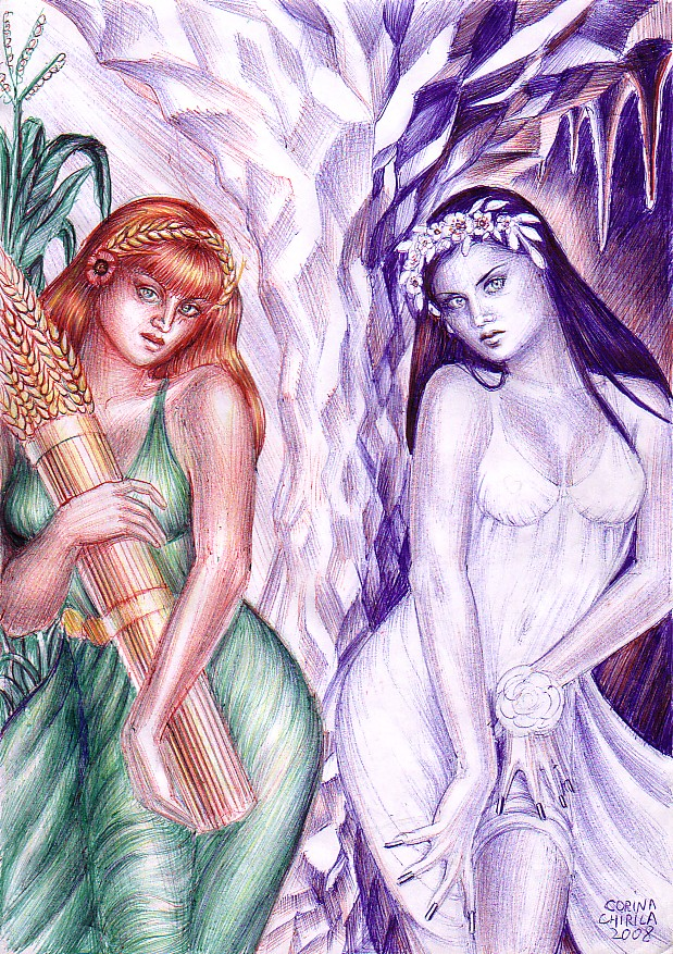 My pen drawing of Demeter and her daughter Kore(Persephone), the two agrar deites of the ancient Greece