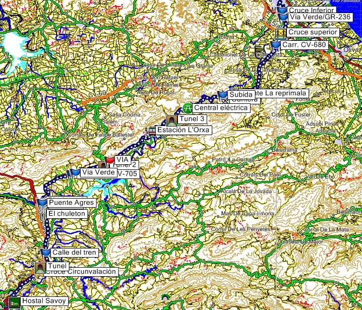 Mapa de la Via Verde del Serpis