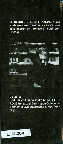 Bret Easton Ellis, Le regole dell'attrazione. Pironti 1988. Risvolto della quarta di sovracoperta.