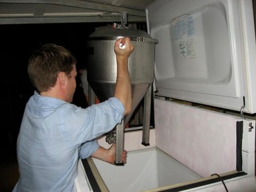 The collapsible sides allow us to (somewhat) easily lift the fermentors into the freezer despite the high collar