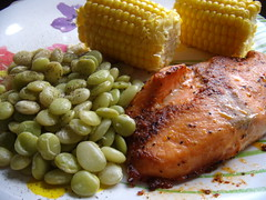 Salmon, Lima Beans and Corn