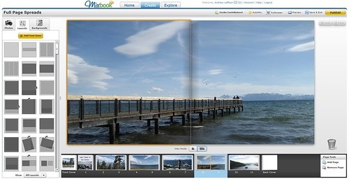 Two Page View at Mixbook over Lake Tahoe