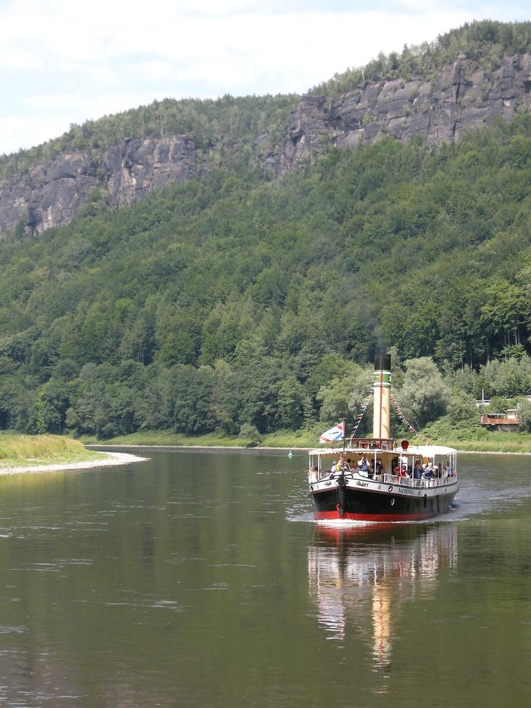 Boat on Labe (Elbe) between Decin and Hrensko