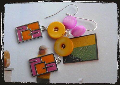 Orecchini arancio rosa - Pink and orange earrings MEHHARO