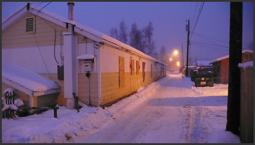 Mt. View night alley, Anchorage.