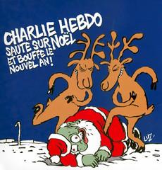 """Pochette du CD """"Charlie Hebdo saute sur Noël et bouffe le nouvel an !"""""""