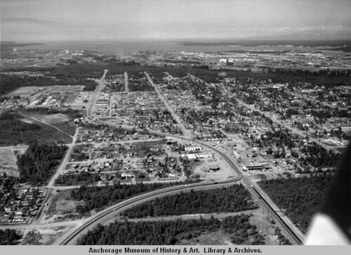 Aerial of Mt View neighborhood, looking west, 1958.  Ward W. Wells photo.