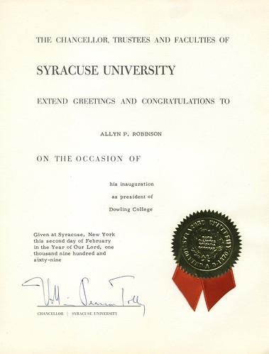 Inauguration Congratulations from Syracuse University