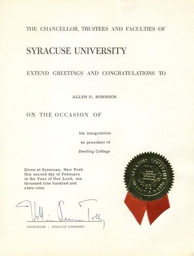 Inauguration Congratulations from Syracuse University