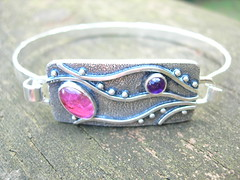 Pink tourmaline and Amethyst Pathways bracelet