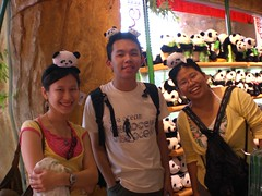 panda souvenirs on our head (Hong Kong)