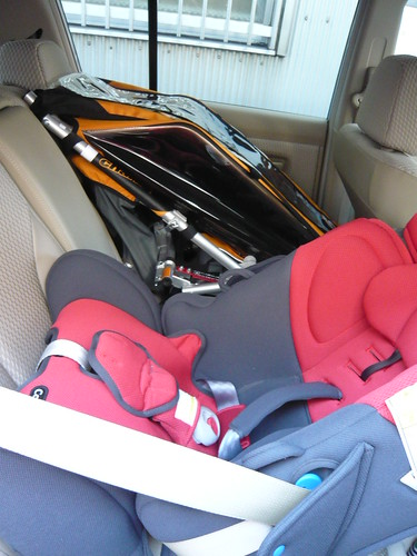 Trailer and baby seat in rear seat