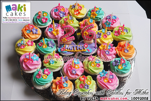 Bday Cupcakes with Candles for Mitha - Maki Cakes