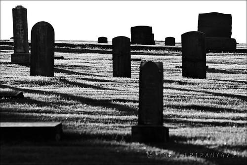 Silhouette of headstones