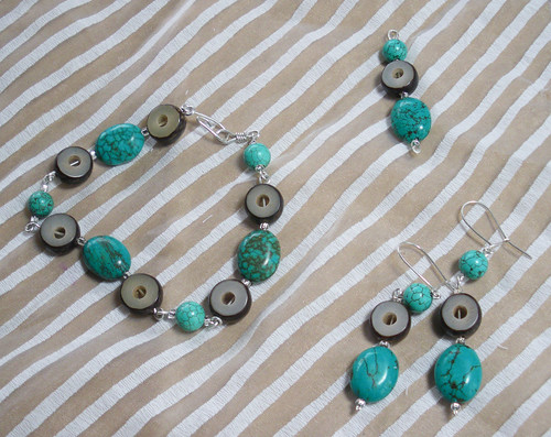For Aubrey - a earring, pendant and bracelet set. Sterling silver, turquoise and pine seed beads