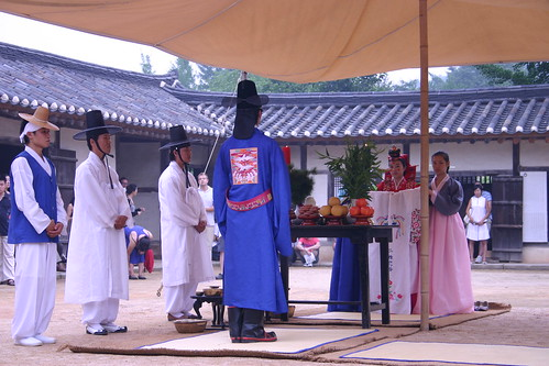 Recreation of a traditional wedding ceremony