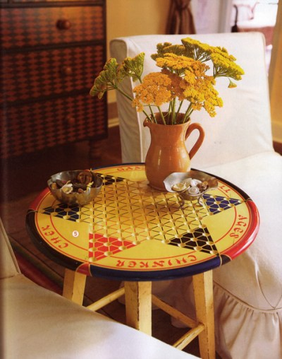 Game Room Decor Chinese Checkers Stool Bar Stool Game Board Pitcher Flower Vase End Table Side Table Decoration
