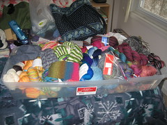 The Sock Box with WIPs