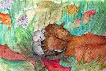 Autumn Mouse postcard